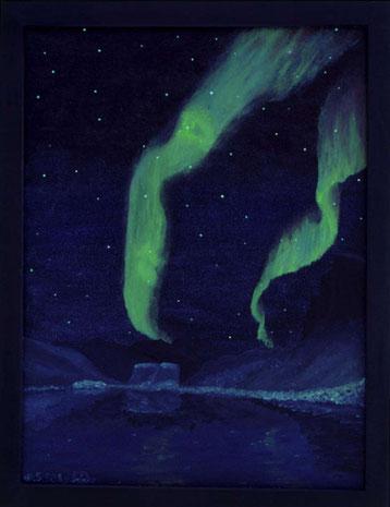 Bild:Spirit of Sarek,Sarek,Nordlicht,Lappland,Schweden,Skierfe,Nammatj,Doppelbild,Profil,Gesicht,Ölbild,Biber,David Brandenberger,d-t-b,