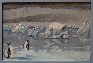 Bild:Gentoo,Penguin,Pinguin,Iceberg,Eisberg,Cuverville,Island,Antarctica,Antarktis,Spiegelung,Wasser,Nebel,d-t-b.ch,d-t-b,David Brandenberger,Biber,dave the beaver,Ölbild,Malerei,Ölfarbe,