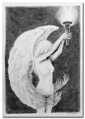 Charcoal painting of an angel holding up a torch