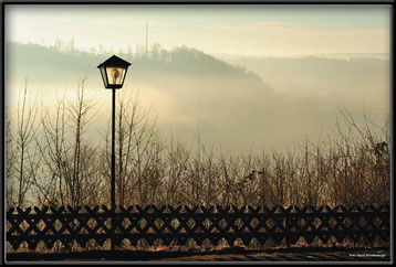 Bild:Foto,Laterne,Heidenheim,Zaun,Nebel,Busch,Himmel,Deutschland,David Brandenberger,d-t-b.ch,www.d-t-b.ch,Gewinner,Photokina,2012,Fine art print,