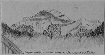 Bild:Jungfrau,Wilderswil,Bleistift,Skizze,Express,Schnell,Halbmond,10 Minuten,David Brandenberger,d-t-b.ch,d-t-b,