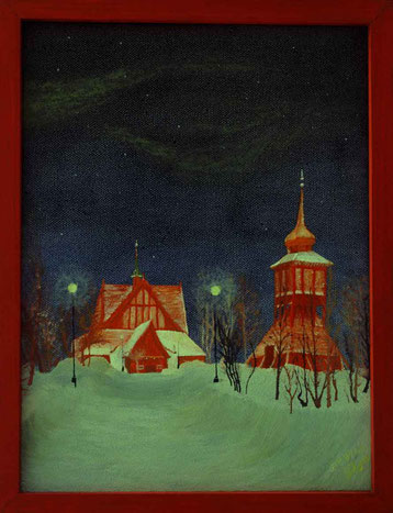 Bild: Sleeping Kiruna,Ölbild,Kiruna,Nordlicht,Kirche,Schweden,Lappland,Doppelbild,David Brandenberger,Biber,d-t-b.ch,