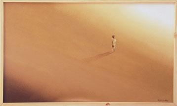Bild:Einsamkeit,Lonelyness,Wüste,Beige,Braun,Figur,Mann,Hoffnung,d-t-b.ch,d-t-b,David Brandenberger,Biber,dave the beaver,Ölbild,Malerei,Ölfarbe,