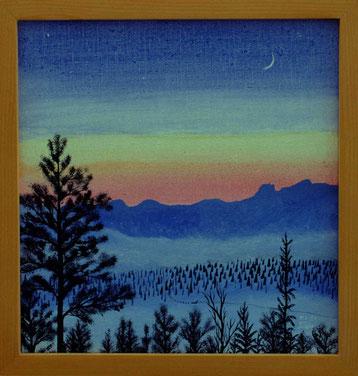Bild: Abendstimmung,Ölbild,Dämmerung,Wald,Senke,Nebel,Berge,Hundeschlitten,Mondsichel,Norden,Lappland,David Brandenberger,d-t-b.ch,verkauft,