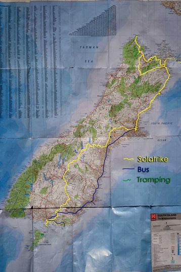 Karte von Südinsel Neuseeland mit Reiseroute eingezeichnet.