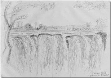 Bild:Victoria Falls,Zimbabwe,Afrika,Wasserfall,Skizze,Bleistift,Schnell,David Brandenberger,d-t-b.ch,d-t-b,