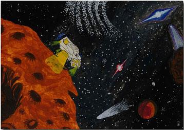 Bild:Landung,Asteroid,Wasserfarbe,Schule,Galaxie,Komet,Planet,Raumschiff,David Brandenberger,d-t-b.ch,d-t-b,