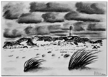 Bild:Amrum,Leuchtturm,Strand,Düne,Strauch,Insel,Deutschland,Nordsee,Meer,d-t-b.ch,d-t-b,David Brandenberger,Biber,dave the beaver,Kohlebild,Malerei,Kohle,Kohlezeichnung,