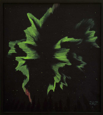 Bild:Fantastic feeling,Ölbild,Nordlicht,Wald,Himmel,Nacht,Sterne,Aurora,David Brandenberger,d-t-b.ch,Biber,