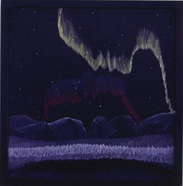 Bild:Kissing Aurora,Ölbild,Kuss,Aurora,Nordlicht,Schweden,Kebnekaise,Lappland,Nacht,Sterne,See,Berge,Doppelbild,Profil,David Brandenberger,Biber,d-t-b.ch,