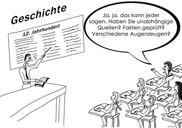 Cartoon mit Lehrer und Schüler