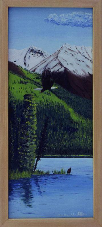 Bild:Bald,eagle,Mentasta,Lake,Alaska,Weisskopf,Adler,Kolonie,Berge,See,Lachs,d-t-b.ch,d-t-b,David Brandenberger,Biber,dave the beaver,Ölbild,Malerei,Ölfarbe,