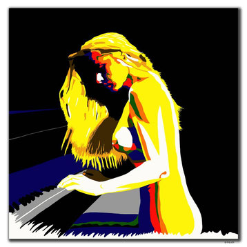 Digital Art painting of a nude woman at the piano
