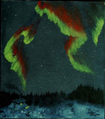 Bild:Nordlicht,Lappland,Ölbild,Schnee,Winter,Hütte,Wald,Schweden,David Brandenberger,d-t-b.ch,Biber,