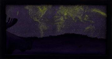 Bild: Moose World,Ölbild,Elch,Weltkarte,Nordlicht,Lappland,Schweden,Hale Bopp Komet,Komet,David Brandenberger,Biber,d-t-b.ch,