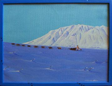Bild:Tribute to Iditarod,Ölbild,Oilpainting,Iditarod,Dogsled,Schlittenhunde,Dee Dee Jonrowe,Jeff Schultz,2006,Alaska Range,Schnee,Berge,Hundeschlitten,Hundeschlittenrennen,Alaska,USA,David Brandenberger,d-t-b.ch,www.d-t-b.ch,Biber,