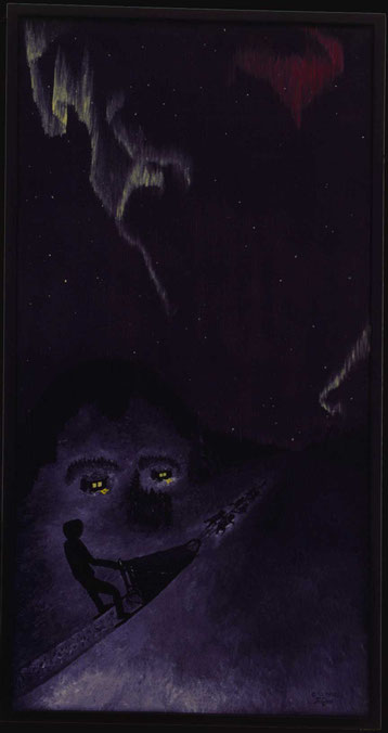 Bild:Dogsledging in the night,Hundeschlitten,Nacht,Landschaft,Nordlicht,Schnee,Ölbild,Schweden,Lappland,Doppelbild,Wald,Hütten,Gesicht,gemalt,