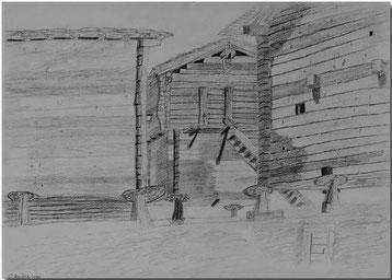 Bild:Wallis,Dorf,Blatten,Schule,Bleistift,Zeichnung,David Brandenberger,d-t-b.ch,d-t-b,