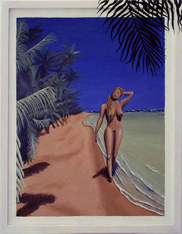 Bild:Pure nature,Ölbild,Palmen,Strand,Akt,Frau,Nackt,Blond,Natur,Pur,David Brandenberger,