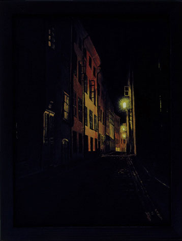 Bild:Prästgatan på natten,Ölbild,Ölfarbe,Leinwand,Stockholm,Prästgatan,Gamla Stan,Altstadt,Nacht,dunkel,Häuser,Laterne,Strasse,Gasse,Schweden,David Brandenberger,d-t-b.ch,Biber,