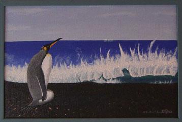 Bild:Waiting,Warten,Pinguin,Königspinguin,Südgeorgien,Nest,Welle,d-t-b.ch,d-t-b,David Brandenberger,Biber,dave the beaver,Ölbild,Malerei,Ölfarbe,