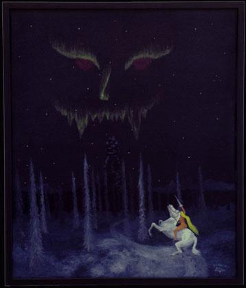 Bild: Northern mystic,Märchen,Ölbild,Nordlicht,Doppelbild,Winter,Wald,Schnee,Pferd,Frau,Fratze,Akt,Schloss,Nacht,Norden,Skandinavien,Leuchtfarbe,David Brandenberger,Biber,d-t-b.ch,