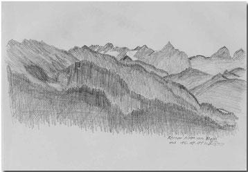 Bild:Berner Alpen,Blatti,Bleistift,Skizze,David Brandenberger,d-t-b.ch,d-t-b,