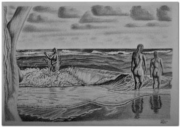 Bleistiftzeichnung von Wellen am Meer mit badenden Frauen.