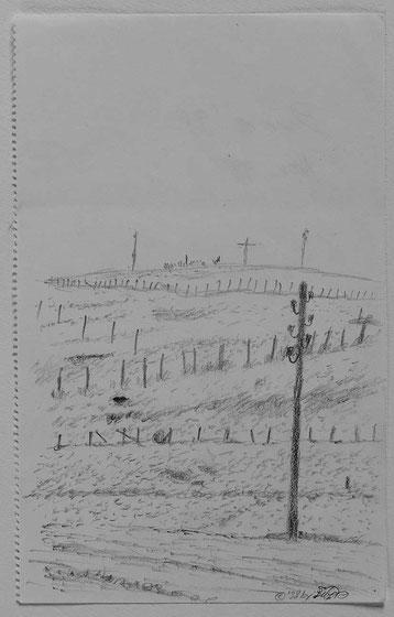 Bild:Bure,Bleistift,Zeichnung,Schnee,Zaun,Telefonmast,Mast,Skizze,David Brandenberger,d-t-b.ch,d-t-b,
