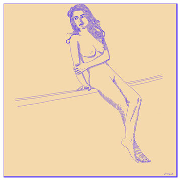 Digital Art painting of a nude woman sitting on a railing.