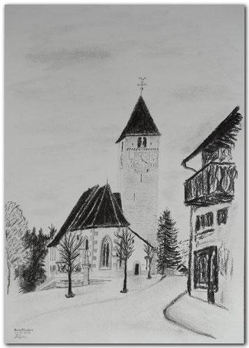 Bild:Kirche,Klosters,Graubünden,Bleistift,Herbst,d-t-b.ch,d-t-b,David Brandenberger,Biber,dave the beaver,Kohlebild,Malerei,Kohle,Kohlezeichnung,