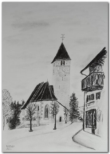 Kohle- und Bleistiftzeichnung der Kirche in Klosters.