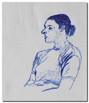 Bild:Bologna,Mailand,Zug,Skizze,Frau,Kugelschreiber,Italien,David Brandenberger,d-t-b.ch,d-t-b,
