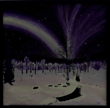 Bild:Nachtruhe,Nordlicht,Tannen,Wald,Hundeschlitten,Dogsled,Aurora,Ölbild,Oilpainting,Nacht,Schnee,Schweden,Lappland,d-t-b.ch,David Brandenberger,Biber,