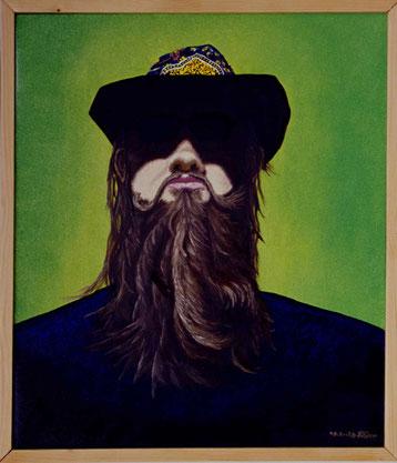 Bild:Selfportrait,Selbstportrait,Bart,Hut,Schatten,Aura,Portrait,d-t-b.ch,d-t-b,David Brandenberger,Biber,dave the beaver,Ölbild,Malerei,Ölfarbe,