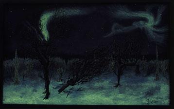 Bild:Tanzende Elfen,Elfen,Bäume,Schnee,Nordlichter,Aurora,Ölbild,d-t-b.ch,David Brandenberger,Biber,