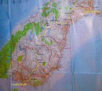 Karte mit eingezeichneter Fahrstrecke in Neuseeland Südinsel Süd