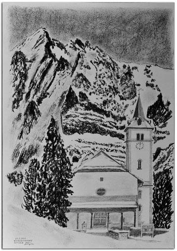Kohlebild der Kirche Grindelwald mit Wetterhorn im Hintergrund