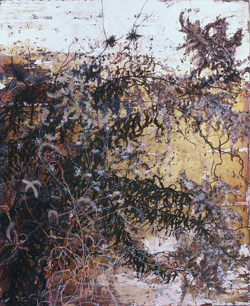 Goldenrod in Autumn Field(枯れセイタカアワダチソウ、エノコログサ、アメリカセンダングサ) (Painting, Japanese paper, Silver leaf, Pigments, Glue)