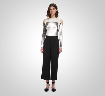 Whistles flat fronted black culottes