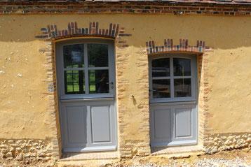 Porte isolante fermière bois exotique (image)