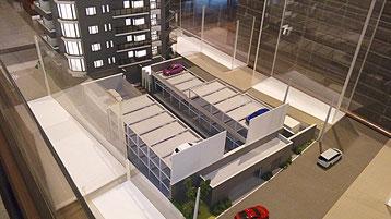 マンション模型の機械式駐車場
