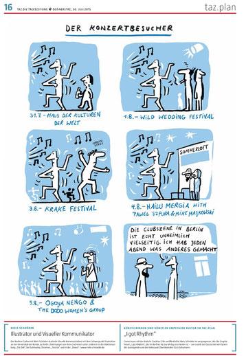 """Für die Berliner taz entstand ein Comic zur Thematik """"Berliner Partyszene"""". Ein einzelner Tänzer geht in unterschiedliche Clubs. Doch seine persönliche Durchdringung bleibt eingeschränkt. Denn letztlich bleibt ein Tänzer immer auf sich selbst gestellt."""