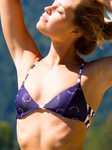 Golden Hirsch reversible bikini top by Alpikini