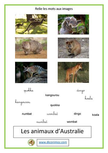 relie les mots aux images animaux 4