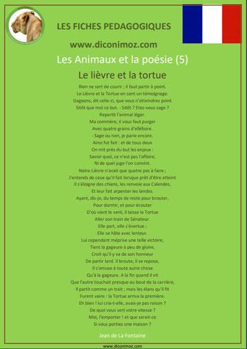 fiche pedagogique pdf poesie animaux le lievre et la tortue jean de la fontaine