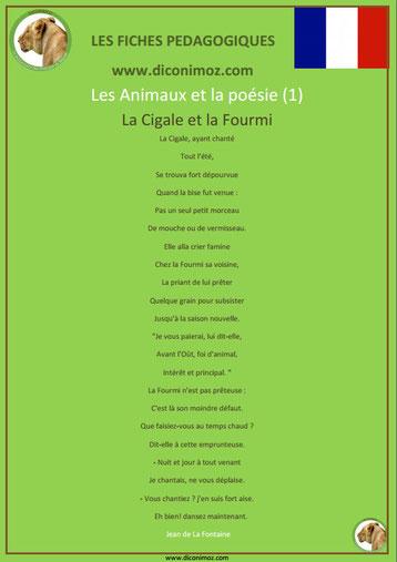 fiche pedagogique pdf poesie animaux la cigale et la fourmi