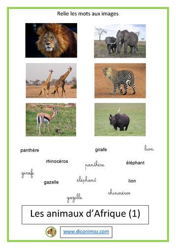 relie les mots aux images animaux 1