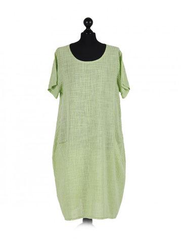 Sommerkleid aus Baumwolle mit Streifen und Taschen