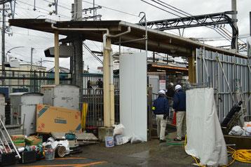 復旧作業中の三木駅➁